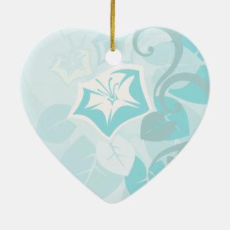 Teal Blue Modern Leaf Flower and Vine Ceramic Ornament