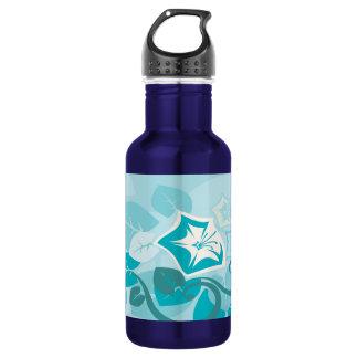 Teal Blue Modern Leaf Flower and Vine Water Bottle
