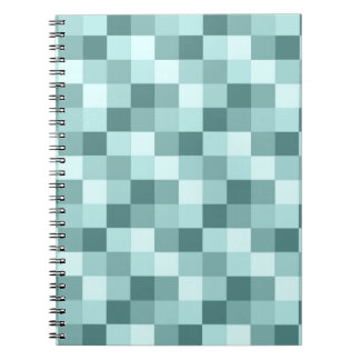 Teal Blue Monochrome Checkered Pattern Notebook