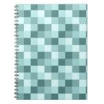 Teal Blue Monochrome Checkered Pattern Spiral Notebook