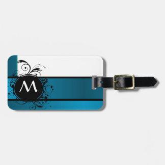 Teal blue monogram bag tag