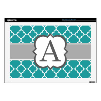 "Teal Blue Monogram Letter A Quatrefoil Decal For 17"" Laptop"