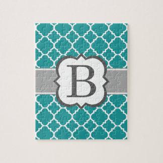 Teal Blue Monogram Letter B Quatrefoil Jigsaw Puzzle