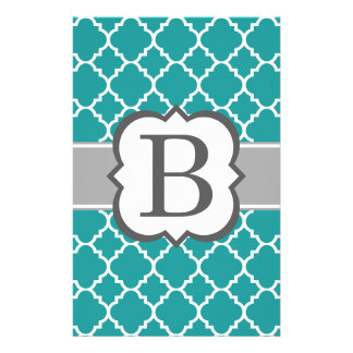 Teal Blue Monogram Letter B Quatrefoil Stationery