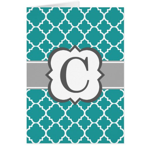 Teal Blue Monogram Letter C Quatrefoil Card