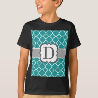 Teal Blue Monogram Letter D Quatrefoil T-Shirt