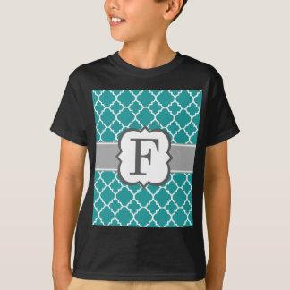 Teal Blue Monogram Letter F Quatrefoil T-Shirt