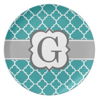 Teal Blue Monogram Letter G Quatrefoil Dinner Plate