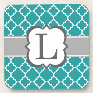 Teal Blue Monogram Letter L Quatrefoil Drink Coaster