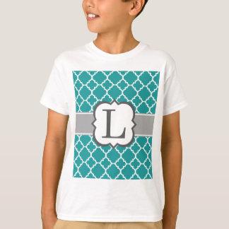 Teal Blue Monogram Letter L Quatrefoil T-Shirt