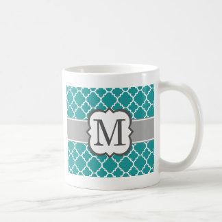 Teal Blue Monogram Letter M Quatrefoil Coffee Mug