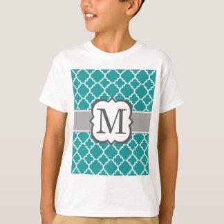 Teal Blue Monogram Letter M Quatrefoil T-Shirt