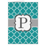 Teal Blue Monogram Letter P Quatrefoil Card