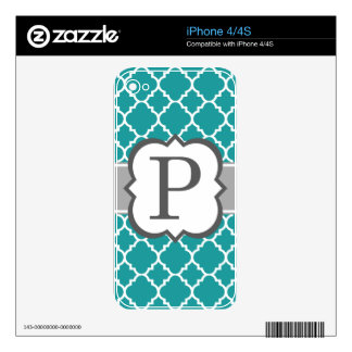 Teal Blue Monogram Letter P Quatrefoil Decals For The iPhone 4