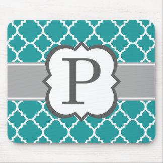 Teal Blue Monogram Letter P Quatrefoil Mouse Pad