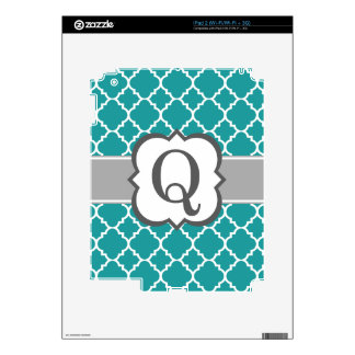 Teal Blue Monogram Letter Q Quatrefoil Decals For The iPad 2