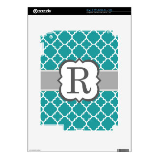 Teal Blue Monogram Letter R Quatrefoil Decals For The iPad 2