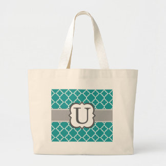Teal Blue Monogram Letter U Quatrefoil Large Tote Bag