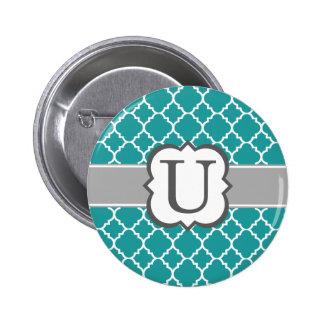 Teal Blue Monogram Letter U Quatrefoil Pinback Button