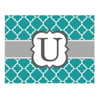 Teal Blue Monogram Letter U Quatrefoil Postcard