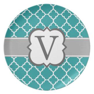 Teal Blue Monogram Letter V Quatrefoil Melamine Plate