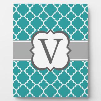 Teal Blue Monogram Letter V Quatrefoil Plaque