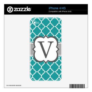 Teal Blue Monogram Letter V Quatrefoil Skin For The iPhone 4