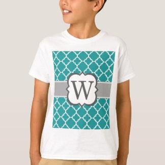 Teal Blue Monogram Letter W Quatrefoil T-Shirt