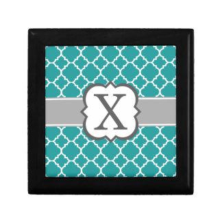 Teal Blue Monogram Letter X Quatrefoil Gift Boxes