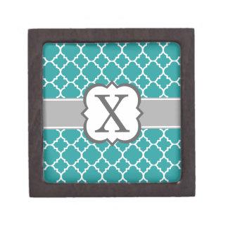 Teal Blue Monogram Letter X Quatrefoil Premium Keepsake Boxes