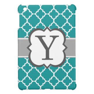 Teal Blue Monogram Letter Y Quatrefoil iPad Mini Cases