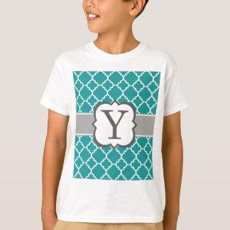 Teal Blue Monogram Letter Y Quatrefoil T-Shirt