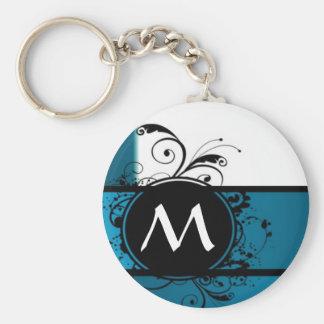 Teal blue monogrammed basic round button keychain