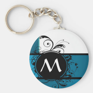 Teal blue monogrammed keychains