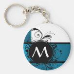 Teal blue monogrammed keychains