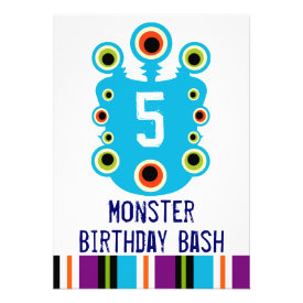Teal Blue Monster Eyes Birthday Party Invitation