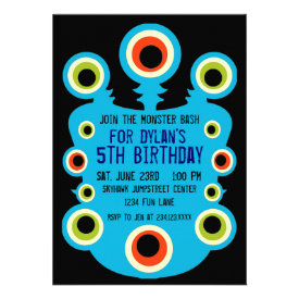 Teal Blue Monster Eyes Birthday Party Invitations