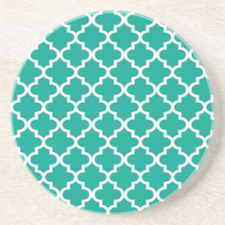 Teal blue Moroccan tile pattern geometric modern Drink Coasters