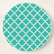 Teal blue Moroccan tile pattern geometric modern Drink Coaster