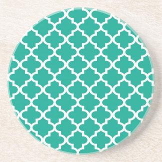 Teal blue Moroccan tile pattern geometric modern Drink Coaster