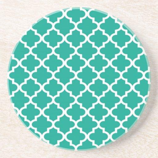 Teal Blue Moroccan Tile Pattern Geometric Modern Drink