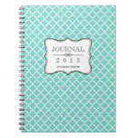 Teal blue Moroccan tile personalized journal Notebook