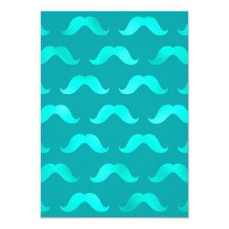 Teal Blue Mustache Faux Foil Metallic Mustaches 5x7 Paper Invitation Card