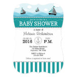 Teal Blue Nautical Baby Shower Invitation