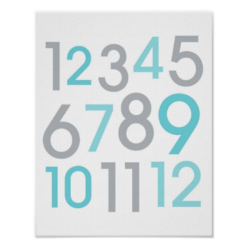 Teal Blue Numbers Nursery Wall Art Print