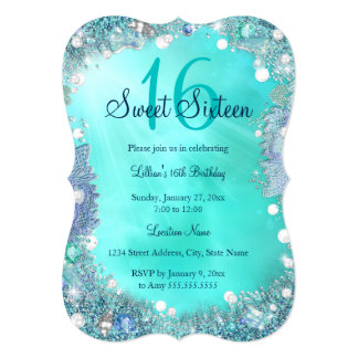 Teal Blue Ocean Pearls Sweet 16 Birthday Party Card