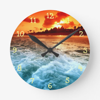 Teal Blue Ocean Surf Orange Sunset Round Clocks