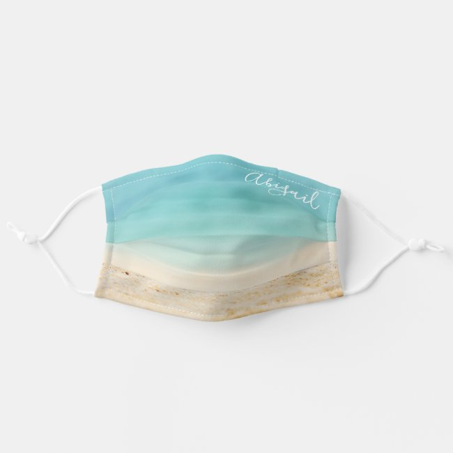 Teal Blue Ocean & Tropical Beach (Add Your Name) Cloth Face Mask