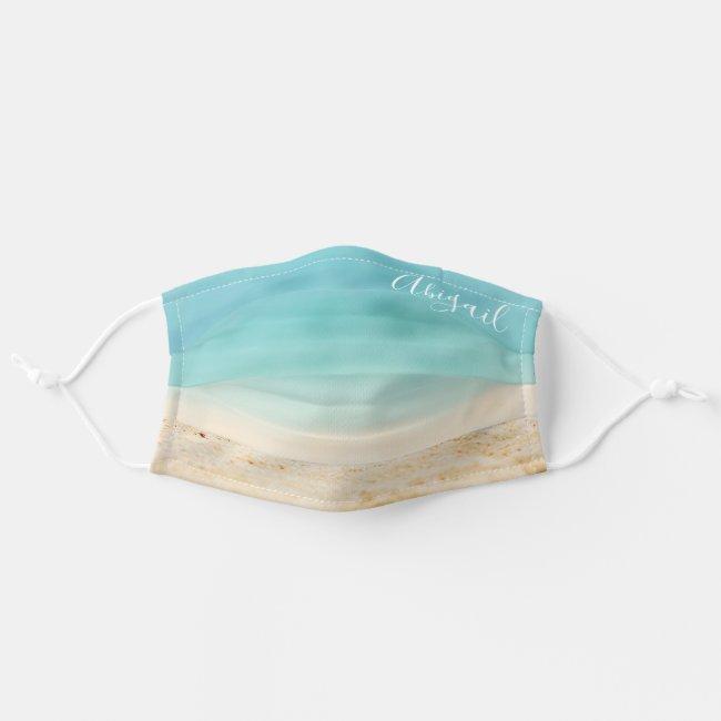 Teal Blue Ocean & Tropical Beach (Add Your Name) Cloth Face Mask