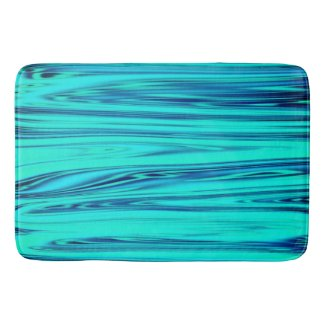 Teal Blue Ocean Wave Shiny Abstract Cute Colorful Bath Mat